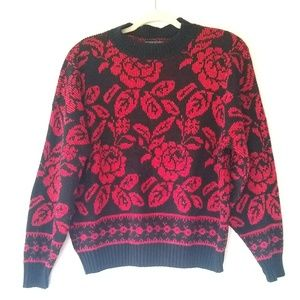 Vintage • red floral sparkly chunky knit sweater